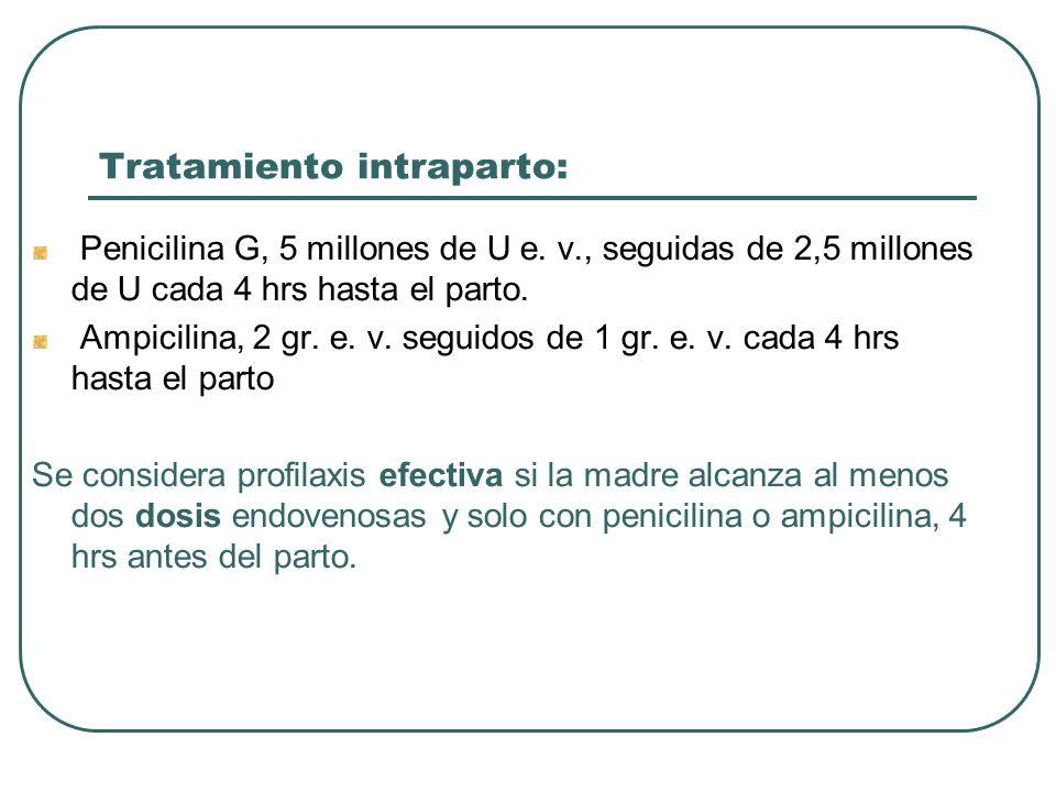 Tratamiento intraparto: Penicilina G, 5 millones de U e. v., seguidas de 2,5 millones de U cada 4 hrs hasta el parto. Ampicilina, 2 gr. e. v. seguidos