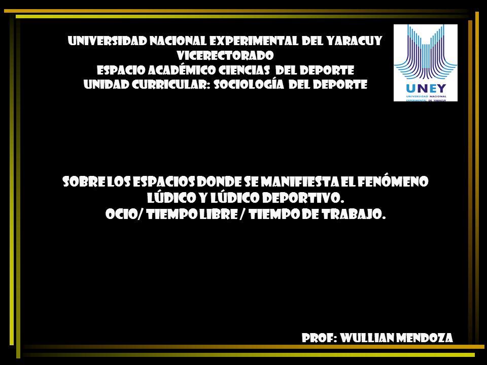PROF: WULLIAN MENDOZA UNIVERSIDAD NACIONAL EXPERIMENTAL DEL YARACUY VICERECTORADO ESPACIO ACADÉMICO CIENCIAS DEL DEPORTE UNIDAD CURRICULAR: SOCIOLOGÍA