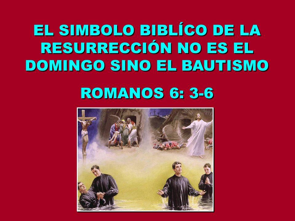 EL SIMBOLO BIBLÍCO DE LA RESURRECCIÓN NO ES EL DOMINGO SINO EL BAUTISMO ROMANOS 6: 3-6 EL SIMBOLO BIBLÍCO DE LA RESURRECCIÓN NO ES EL DOMINGO SINO EL