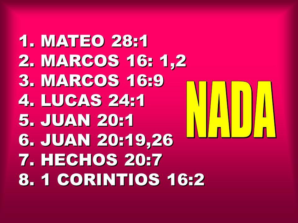1. MATEO 28:1 2. MARCOS 16: 1,2 3. MARCOS 16:9 4. LUCAS 24:1 5. JUAN 20:1 6. JUAN 20:19,26 7. HECHOS 20:7 8. 1 CORINTIOS 16:2 1. MATEO 28:1 2. MARCOS