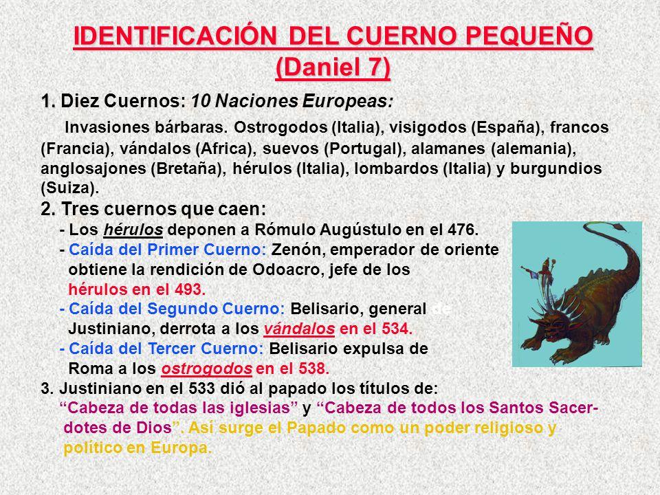 IDENTIFICACIÓN DEL CUERNO PEQUEÑO (Daniel 7) 1. 1. Diez Cuernos: 10 Naciones Europeas: Invasiones bárbaras. Ostrogodos (Italia), visigodos (España), f