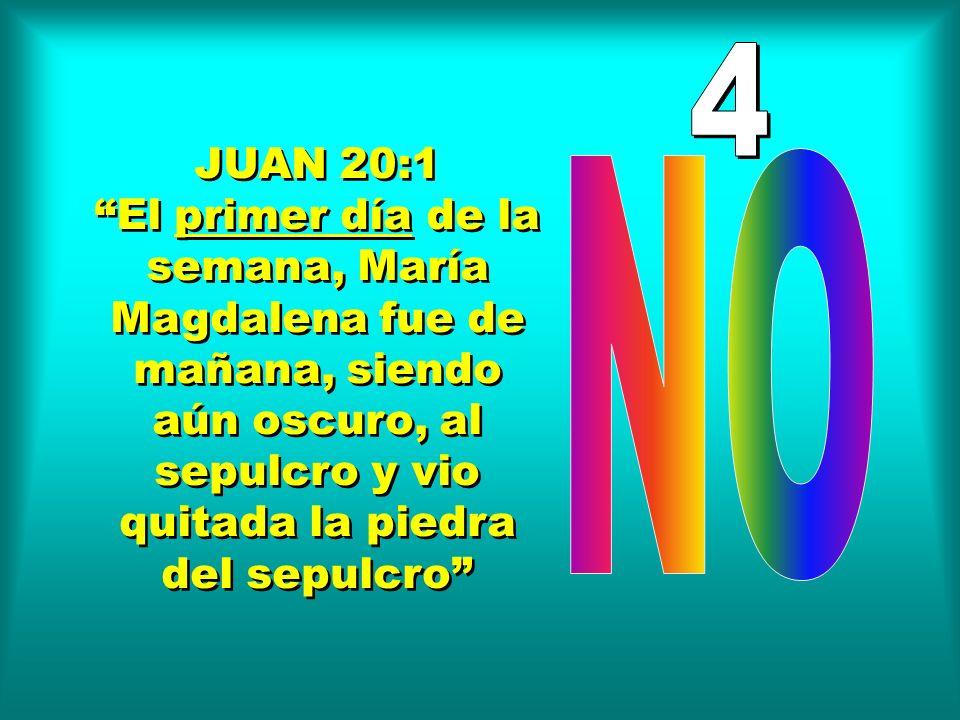 JUAN 20:1 El primer día de la semana, María Magdalena fue de mañana, siendo aún oscuro, al sepulcro y vio quitada la piedra del sepulcro JUAN 20:1 El