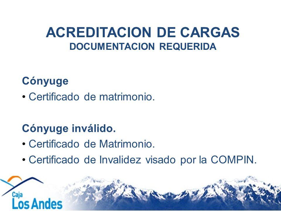 ACREDITACION DE CARGAS DOCUMENTACION REQUERIDA Cónyuge Certificado de matrimonio. Cónyuge inválido. Certificado de Matrimonio. Certificado de Invalide