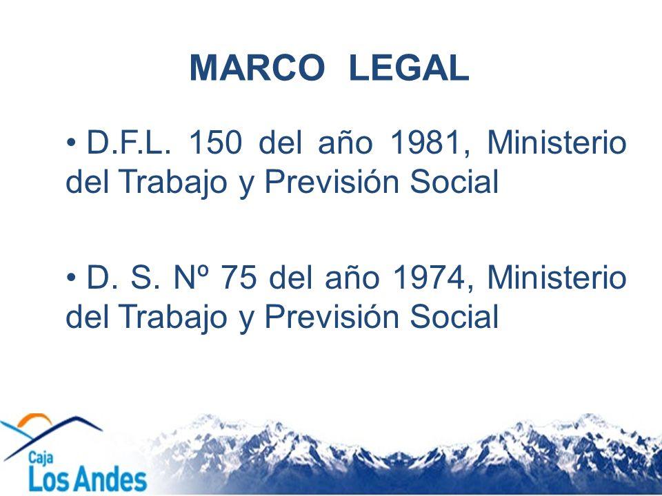 MARCO LEGAL D.F.L. 150 del año 1981, Ministerio del Trabajo y Previsión Social D. S. Nº 75 del año 1974, Ministerio del Trabajo y Previsión Social