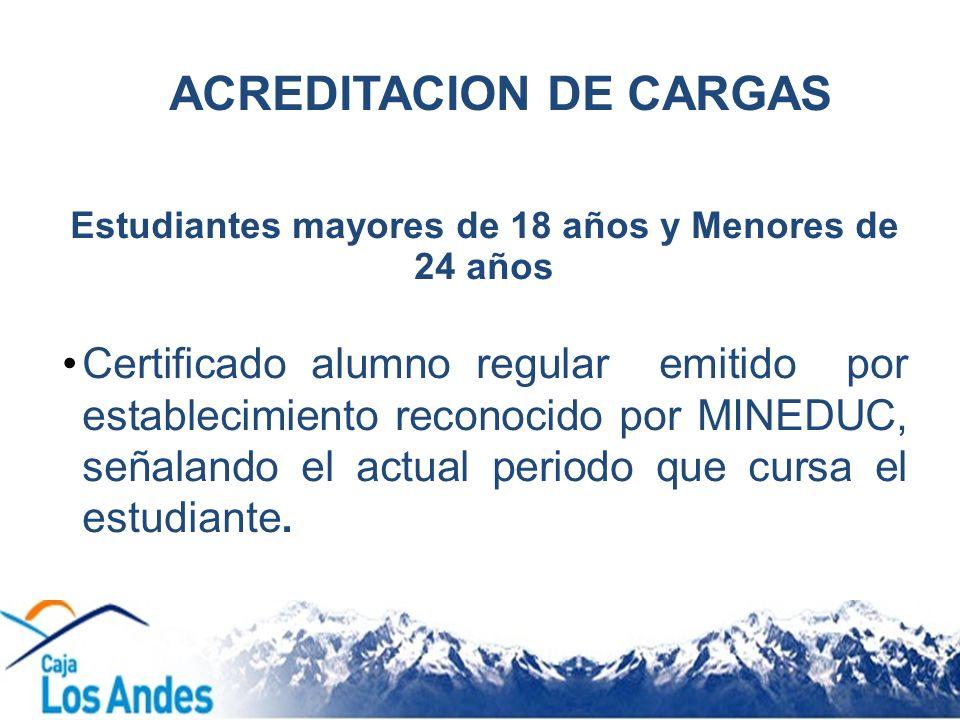 ACREDITACION DE CARGAS Estudiantes mayores de 18 años y Menores de 24 años Certificado alumno regular emitido por establecimiento reconocido por MINED