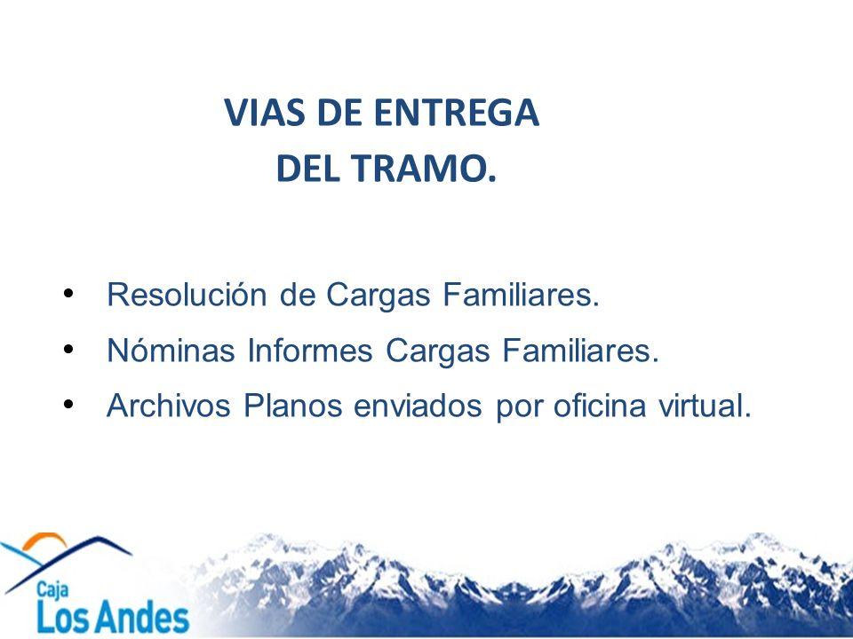 Resolución de Cargas Familiares. Nóminas Informes Cargas Familiares. Archivos Planos enviados por oficina virtual. VIAS DE ENTREGA DEL TRAMO.