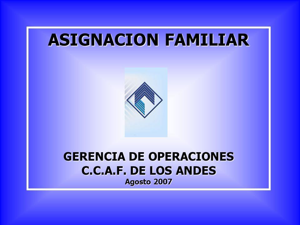 ASIGNACION FAMILIAR GERENCIA DE OPERACIONES C.C.A.F. DE LOS ANDES Agosto 2007