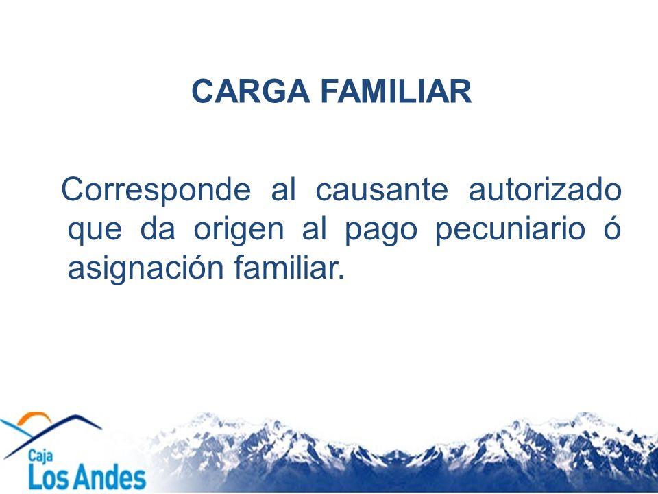 CARGA FAMILIAR Corresponde al causante autorizado que da origen al pago pecuniario ó asignación familiar.