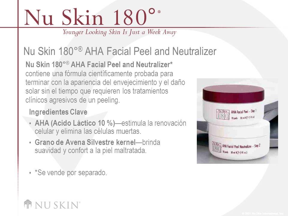 © 2001 Nu Skin International, Inc Nu Skin 180° ® AHA Facial Peel and Neutralizer Nu Skin 180° ® AHA Facial Peel and Neutralizer* contiene una fórmula