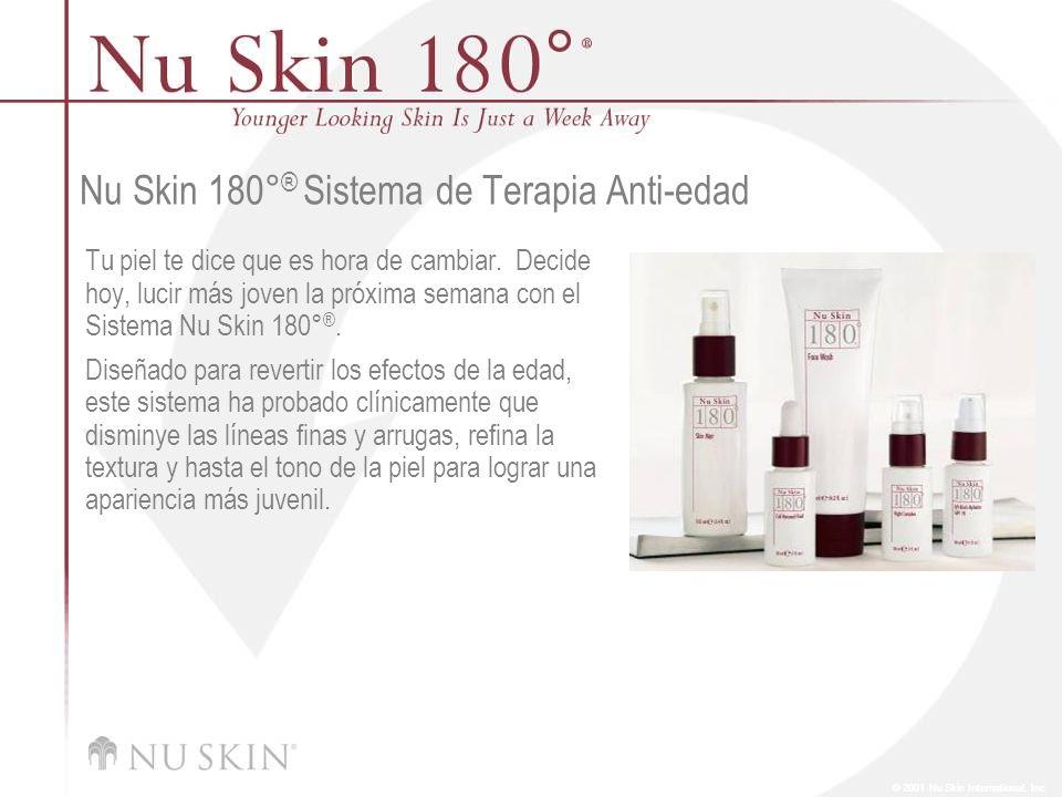© 2001 Nu Skin International, Inc Mercado Objetivo Mujeres y hombres mayores de 35 años que quieran disminuir la apariencia de líneas finas y arrugas, mejorar el tono y textura de la piel y revertir las señales del daño solar.