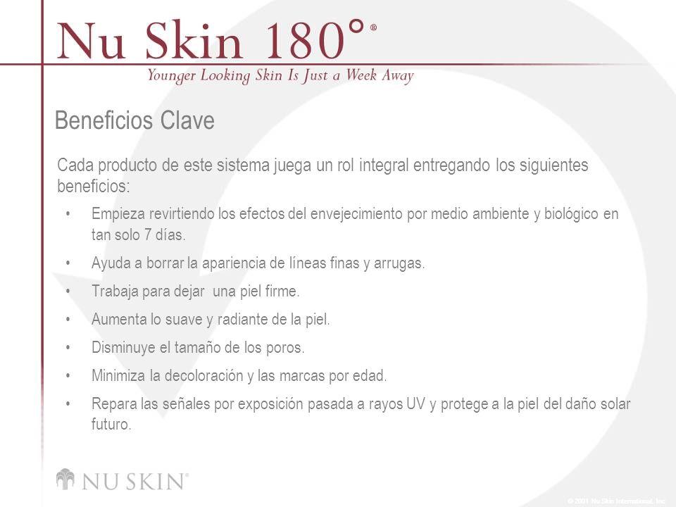 © 2001 Nu Skin International, Inc Porcentaje de participantes que mostraron mejoría en luminosidad general* acorde a valoración de nivel clínico : Semana Uno: 36 % Semana Ocho: 100 % *compuesta de varios atributos
