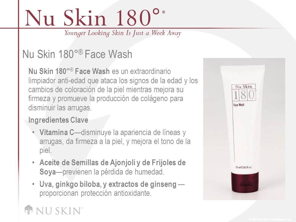 © 2001 Nu Skin International, Inc Nu Skin 180° ® Skin Mist Nu Skin 180° ® Skin Mist protege contra las futuras arrugas y la pérdida de firmeza, mientras refina los poros y calma la piel.