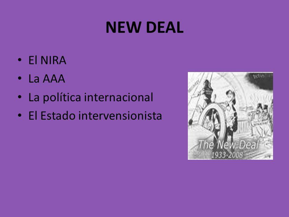 NEW DEAL El NIRA La AAA La política internacional El Estado intervensionista