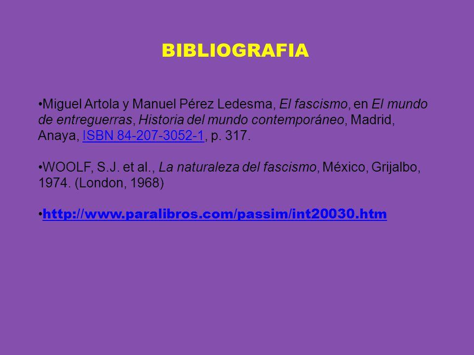 BIBLIOGRAFIA Miguel Artola y Manuel Pérez Ledesma, El fascismo, en El mundo de entreguerras, Historia del mundo contemporáneo, Madrid, Anaya, ISBN 84-