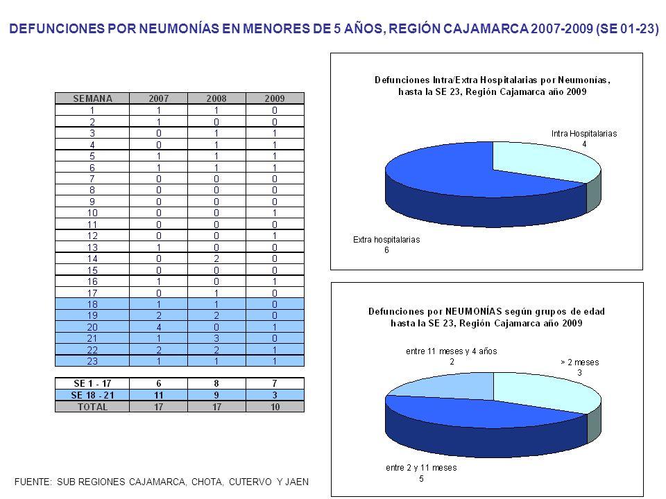 FUENTE: SUB REGIONES CAJAMARCA, CHOTA, CUTERVO Y JAEN DEFUNCIONES POR NEUMONÍAS EN MENORES DE 5 AÑOS, REGIÓN CAJAMARCA 2007-2009 (SE 01-23)