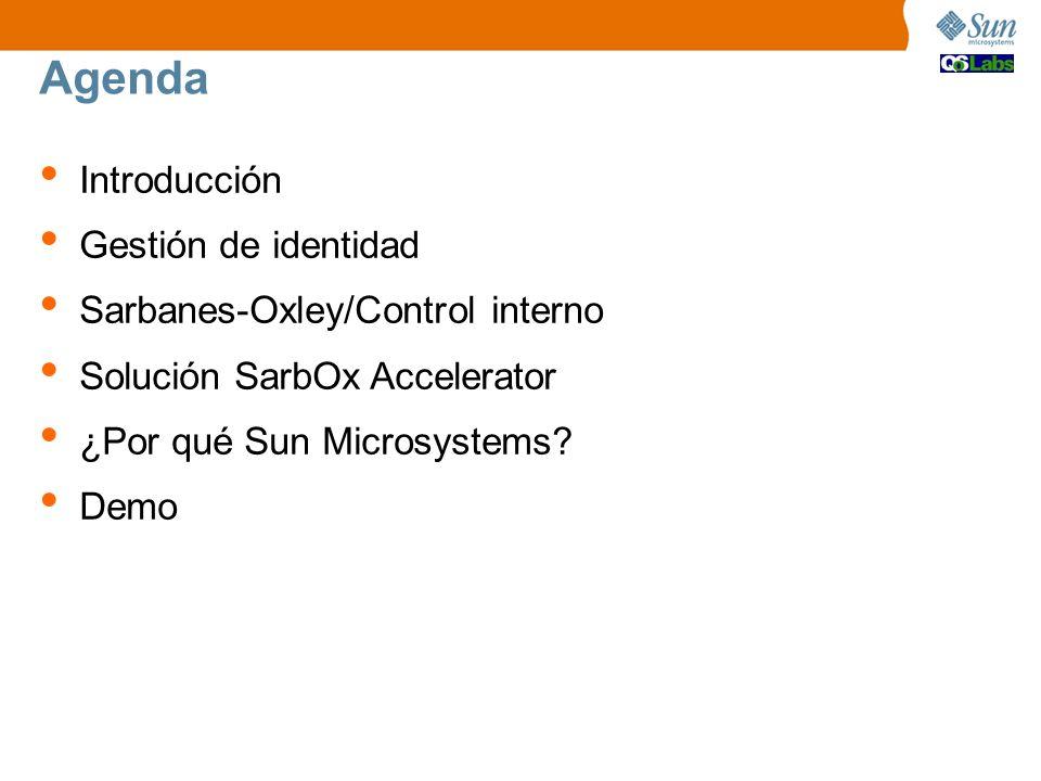 Agenda Introducción Gestión de identidad Sarbanes-Oxley/Control interno Solución SarbOx Accelerator ¿Por qué Sun Microsystems? Demo