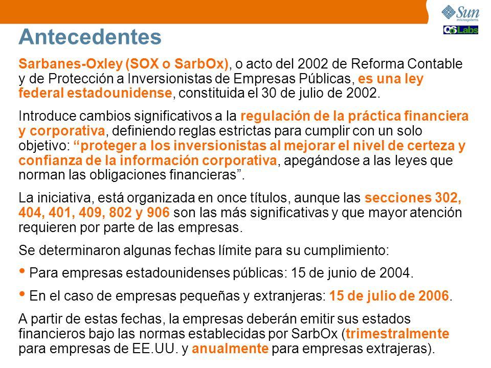 Antecedentes Sarbanes-Oxley (SOX o SarbOx), o acto del 2002 de Reforma Contable y de Protección a Inversionistas de Empresas Públicas, es una ley fede