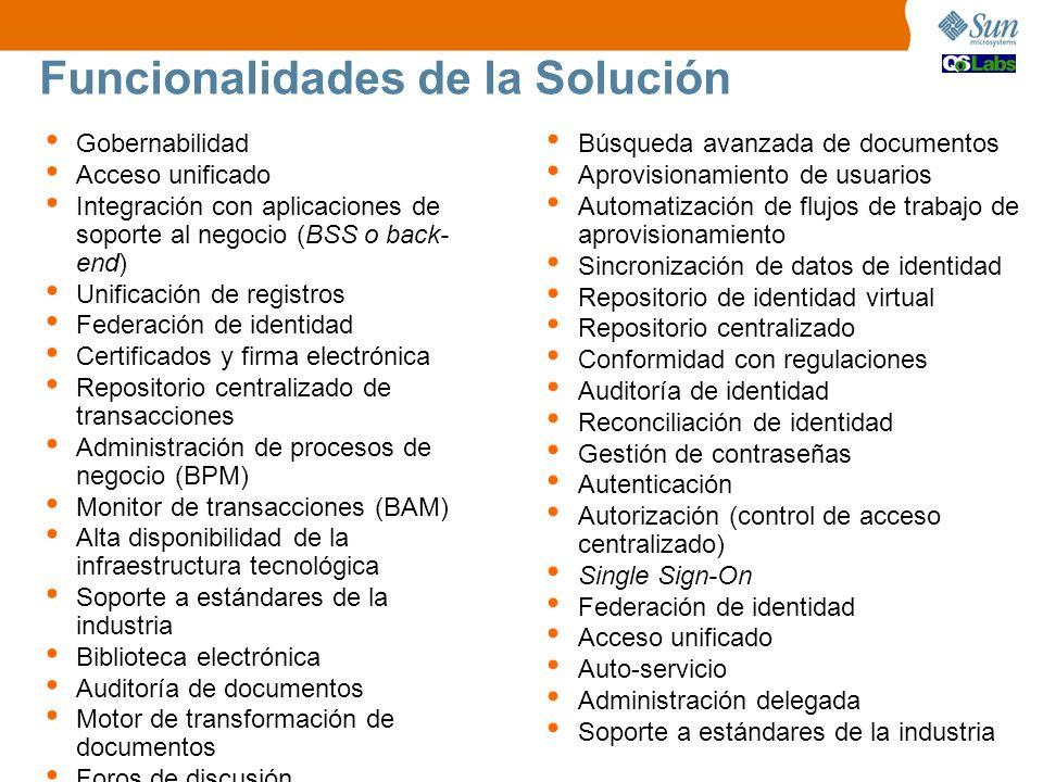 Funcionalidades de la Solución Gobernabilidad Acceso unificado Integración con aplicaciones de soporte al negocio (BSS o back- end) Unificación de reg