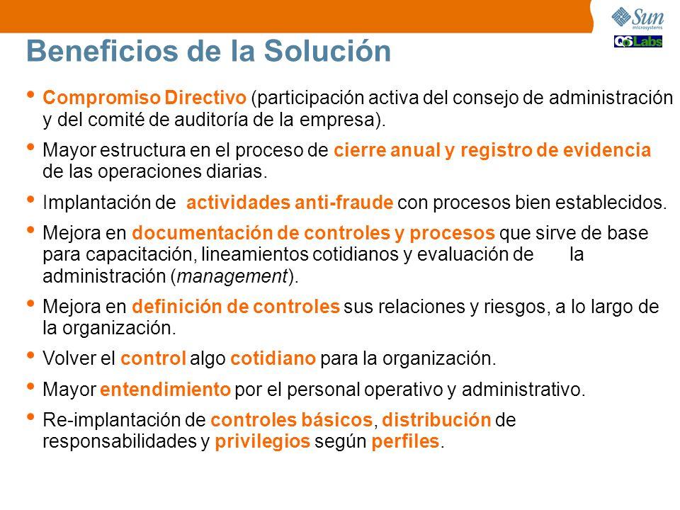 Beneficios de la Solución Compromiso Directivo (participación activa del consejo de administración y del comité de auditoría de la empresa). Mayor est