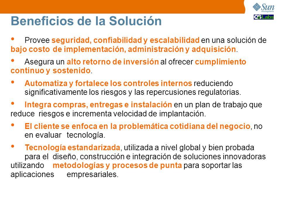 Beneficios de la Solución Provee seguridad, confiabilidad y escalabilidad en una solución de bajo costo de implementación, administración y adquisició