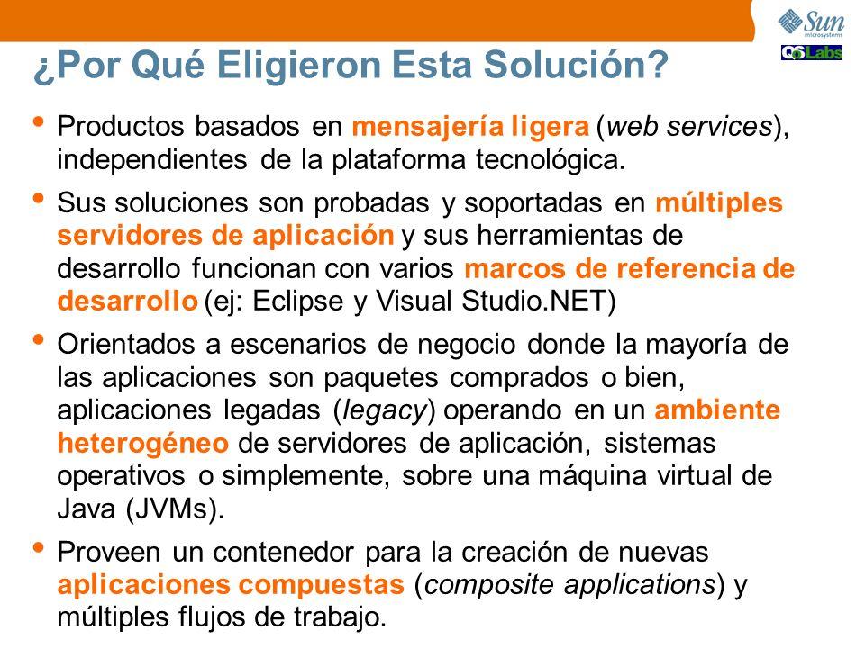 Packaged ¿Por Qué Eligieron Esta Solución? Productos basados en mensajería ligera (web services), independientes de la plataforma tecnológica. Sus sol