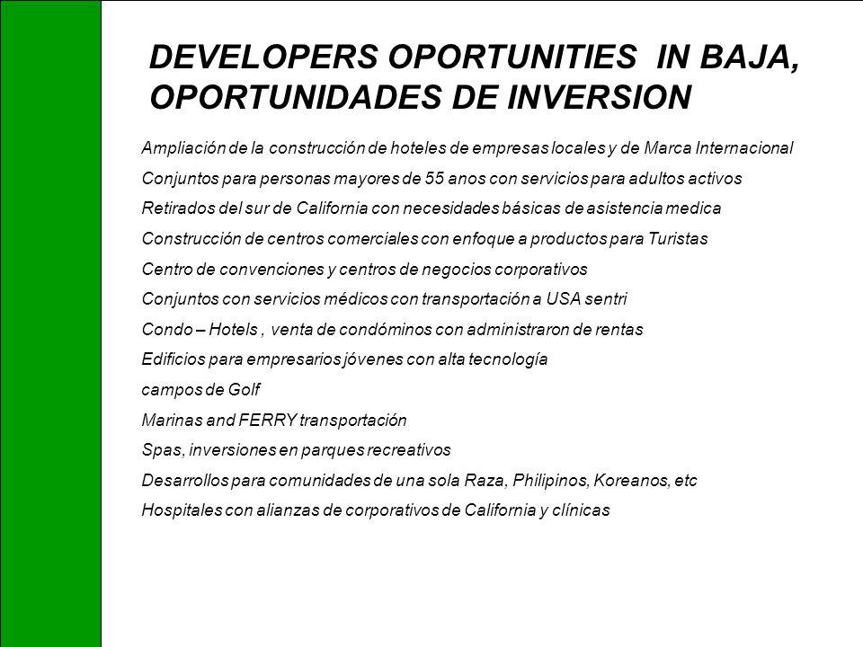 DEVELOPERS OPORTUNITIES IN BAJA, OPORTUNIDADES DE INVERSION Ampliación de la construcción de hoteles de empresas locales y de Marca Internacional Conj