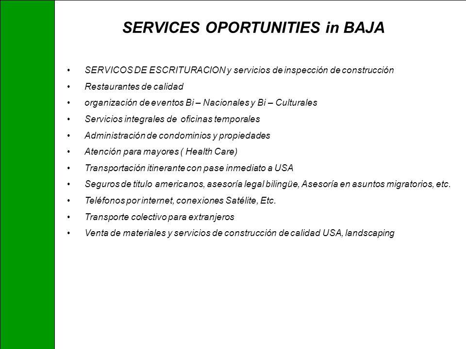 SERVICES OPORTUNITIES in BAJA SERVICOS DE ESCRITURACION y servicios de inspección de construcción Restaurantes de calidad organización de eventos Bi –