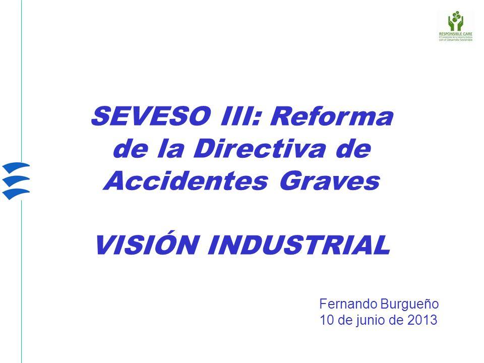 SEVESO III: Reforma de la Directiva de Accidentes Graves VISIÓN INDUSTRIAL Fernando Burgueño 10 de junio de 2013