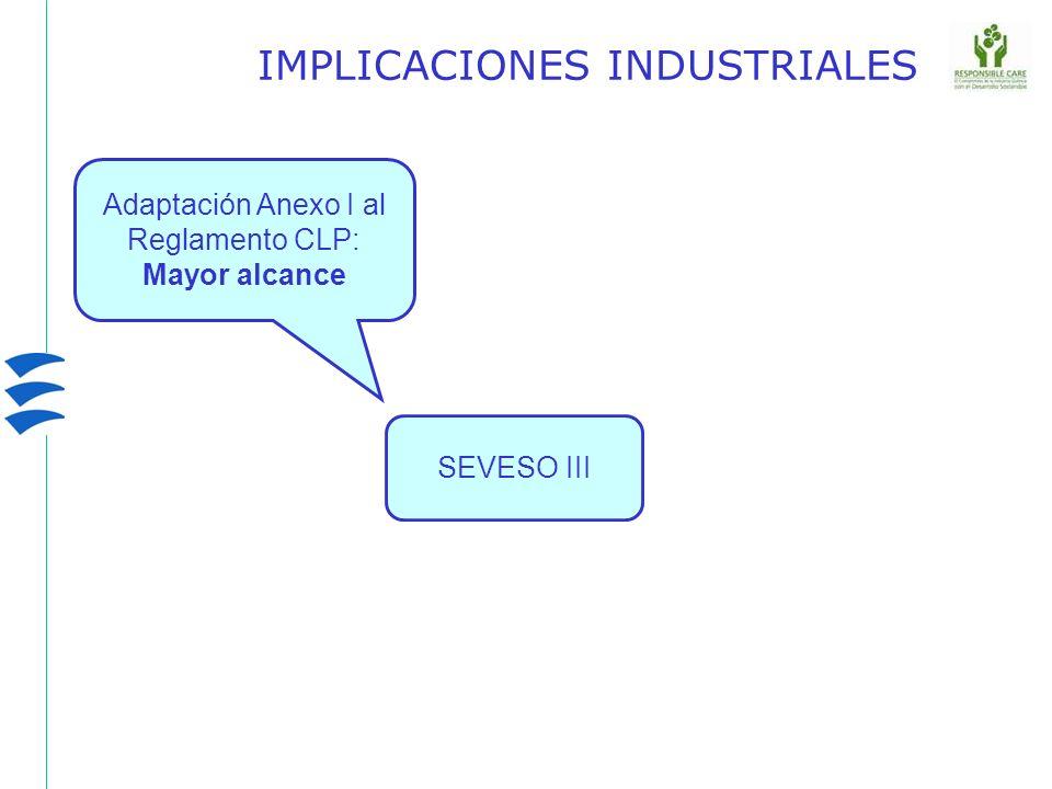 SEVESO III IMPLICACIONES INDUSTRIALES Adaptación Anexo I al Reglamento CLP: Mayor alcance