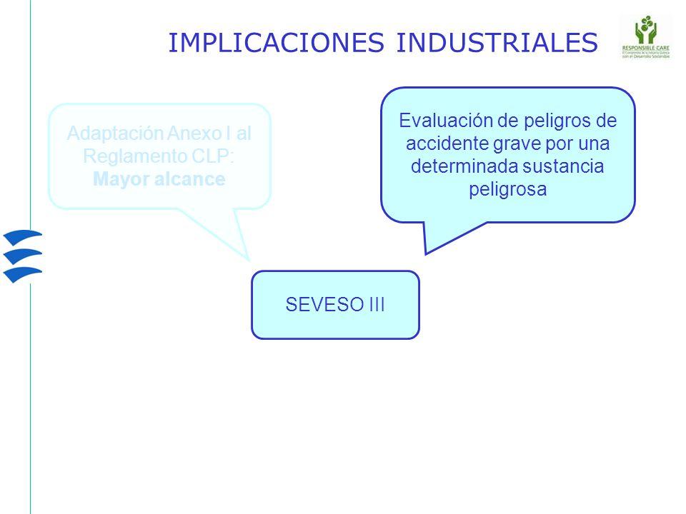 SEVESO III IMPLICACIONES INDUSTRIALES Evaluación de peligros de accidente grave por una determinada sustancia peligrosa Adaptación Anexo I al Reglamen
