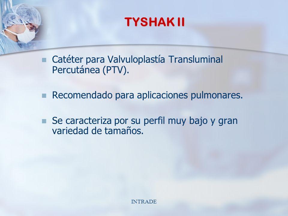 INTRADE TYSHAK II Catéter para Valvuloplastía Transluminal Percutánea (PTV). Recomendado para aplicaciones pulmonares. Se caracteriza por su perfil mu