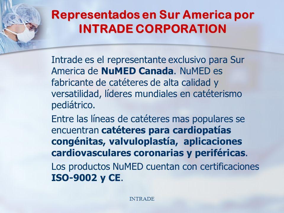 INTRADE Representados en Sur America por INTRADE CORPORATION Intrade es el representante exclusivo para Sur America de NuMED Canada.