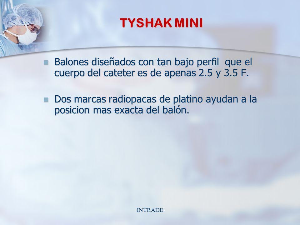 INTRADE TYSHAK MINI Balones diseñados con tan bajo perfil que el cuerpo del cateter es de apenas 2.5 y 3.5 F.