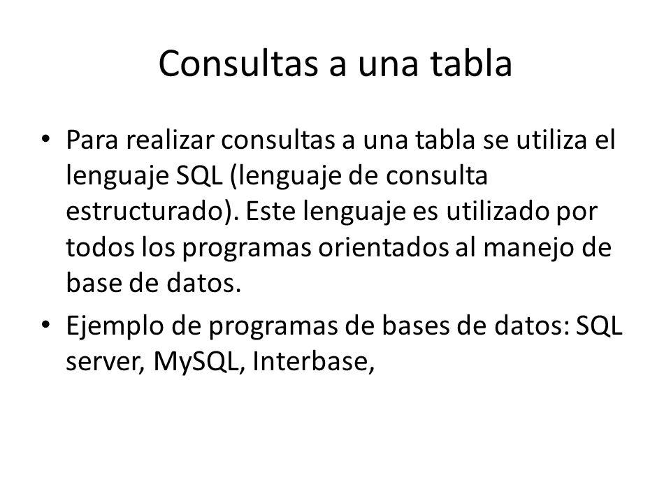 Consultas a una tabla Para realizar consultas a una tabla se utiliza el lenguaje SQL (lenguaje de consulta estructurado). Este lenguaje es utilizado p