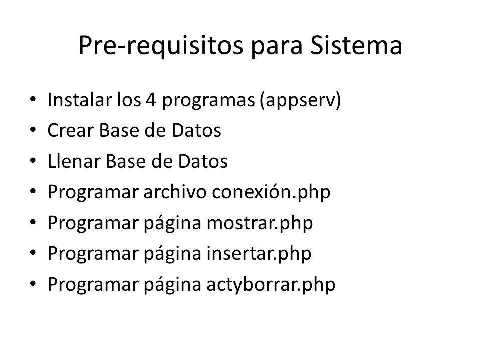 Pre-requisitos para Sistema Instalar los 4 programas (appserv) Crear Base de Datos Llenar Base de Datos Programar archivo conexión.php Programar págin