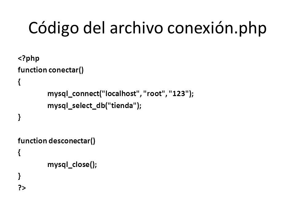 Código del archivo conexión.php <?php function conectar() { mysql_connect(