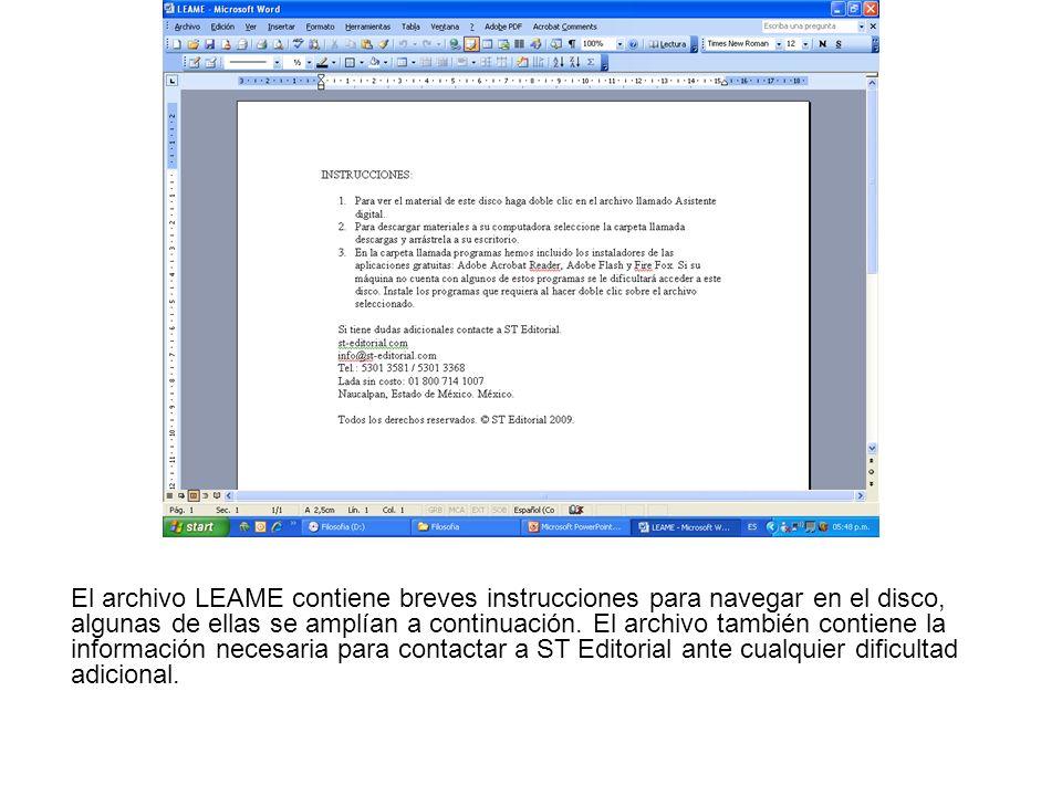 El archivo LEAME contiene breves instrucciones para navegar en el disco, algunas de ellas se amplían a continuación. El archivo también contiene la in