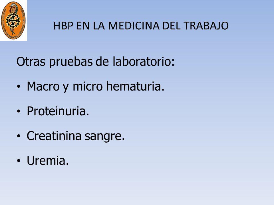 HBP EN LA MEDICINA DEL TRABAJO Otras pruebas de laboratorio: Macro y micro hematuria. Proteinuria. Creatinina sangre. Uremia.