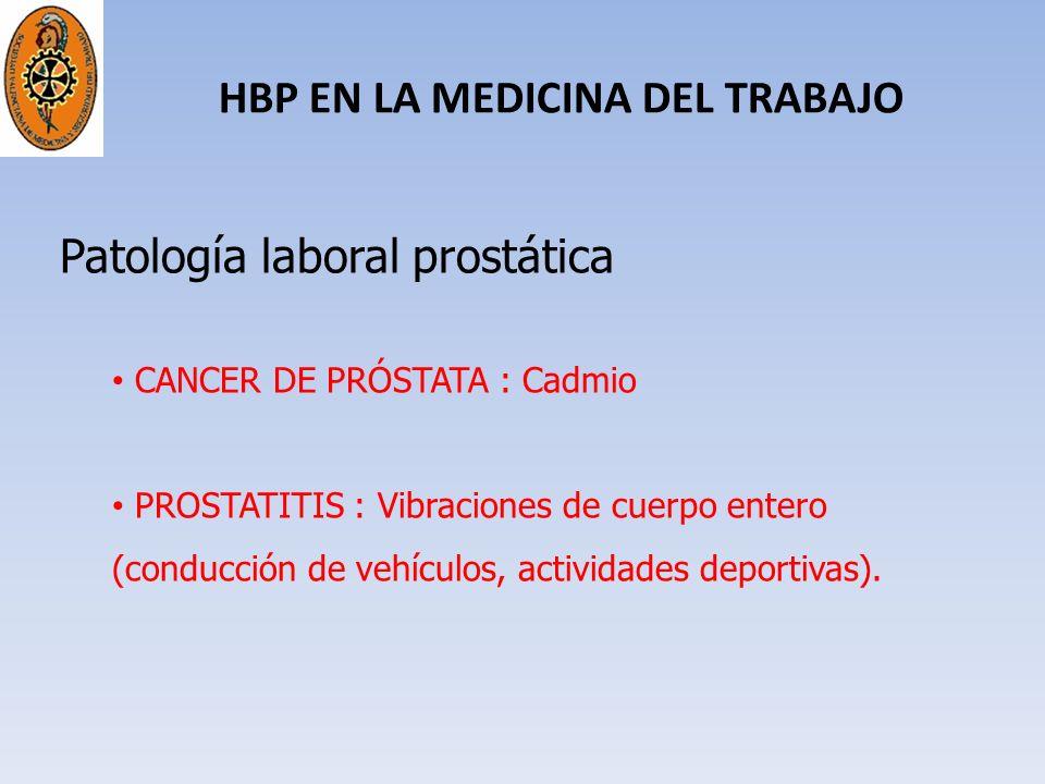 HBP EN LA MEDICINA DEL TRABAJO Patología laboral prostática CANCER DE PRÓSTATA : Cadmio PROSTATITIS : Vibraciones de cuerpo entero (conducción de vehí