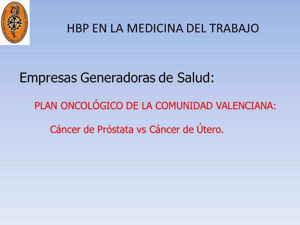 HBP EN LA MEDICINA DEL TRABAJO Empresas Generadoras de Salud: PLAN ONCOLÓGICO DE LA COMUNIDAD VALENCIANA: Cáncer de Próstata vs Cáncer de Útero.
