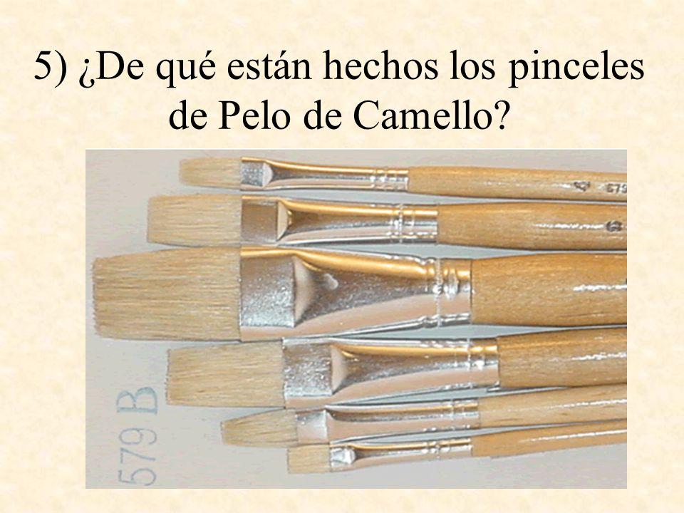 5) ¿De qué están hechos los pinceles de Pelo de Camello?