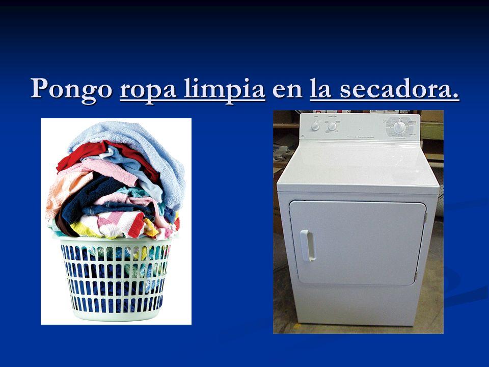 Pongo ropa limpia en la secadora.