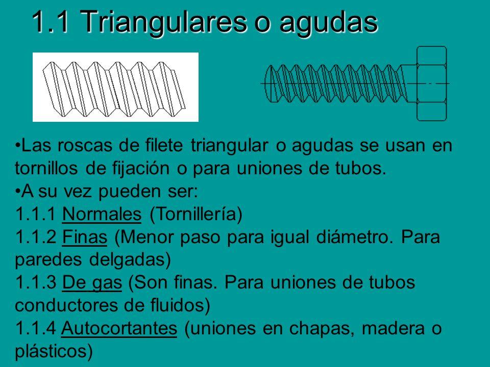 1.1 Triangulares o agudas Las roscas de filete triangular o agudas se usan en tornillos de fijación o para uniones de tubos. A su vez pueden ser: 1.1.