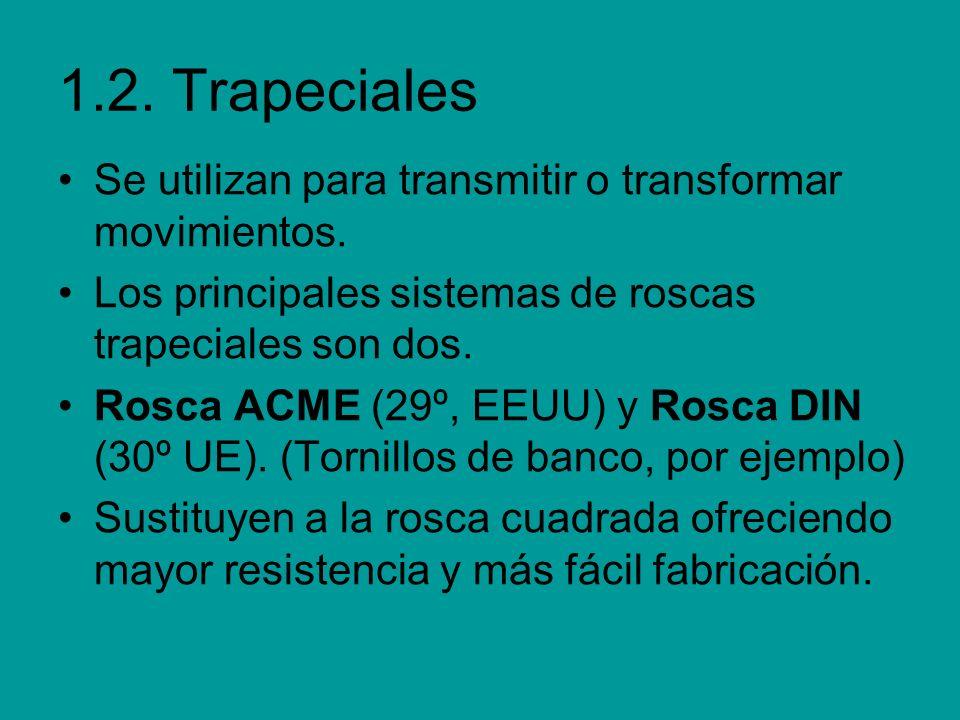 1.2. Trapeciales Se utilizan para transmitir o transformar movimientos. Los principales sistemas de roscas trapeciales son dos. Rosca ACME (29º, EEUU)