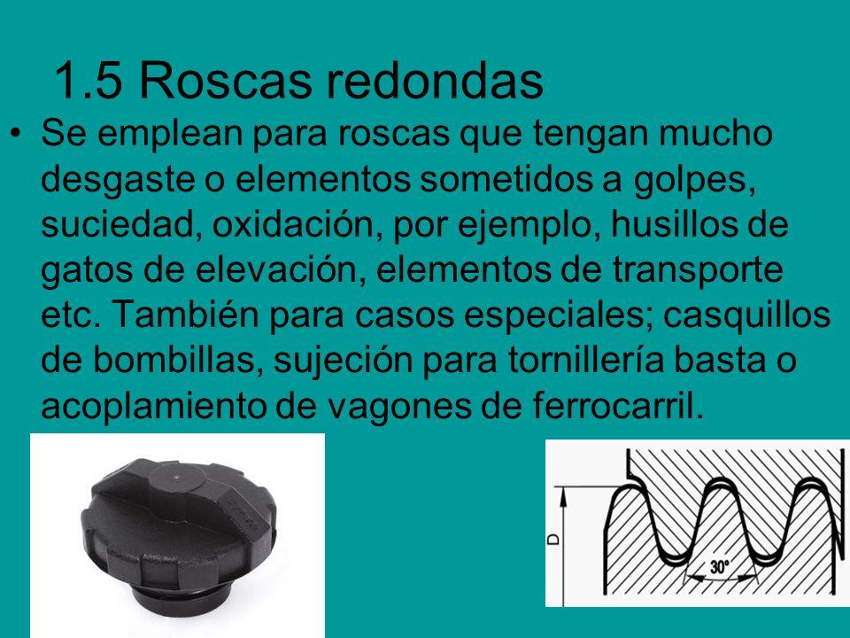 1.5 Roscas redondas Se emplean para roscas que tengan mucho desgaste o elementos sometidos a golpes, suciedad, oxidación, por ejemplo, husillos de gat