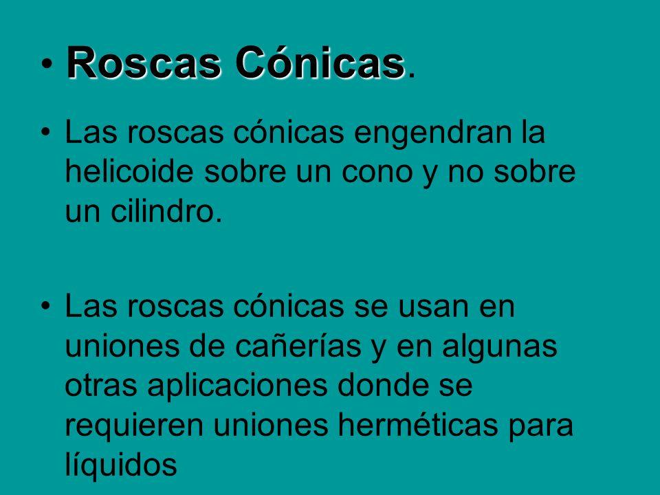 Roscas Cónicas Roscas Cónicas. Las roscas cónicas engendran la helicoide sobre un cono y no sobre un cilindro. Las roscas cónicas se usan en uniones d