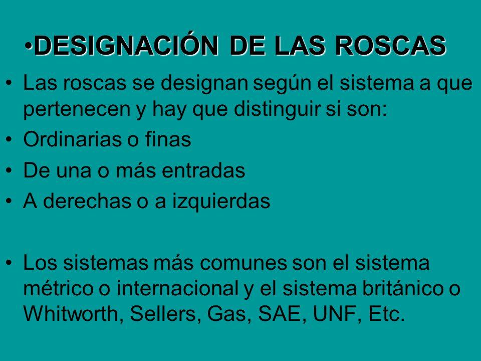 DESIGNACIÓN DE LAS ROSCASDESIGNACIÓN DE LAS ROSCAS Las roscas se designan según el sistema a que pertenecen y hay que distinguir si son: Ordinarias o