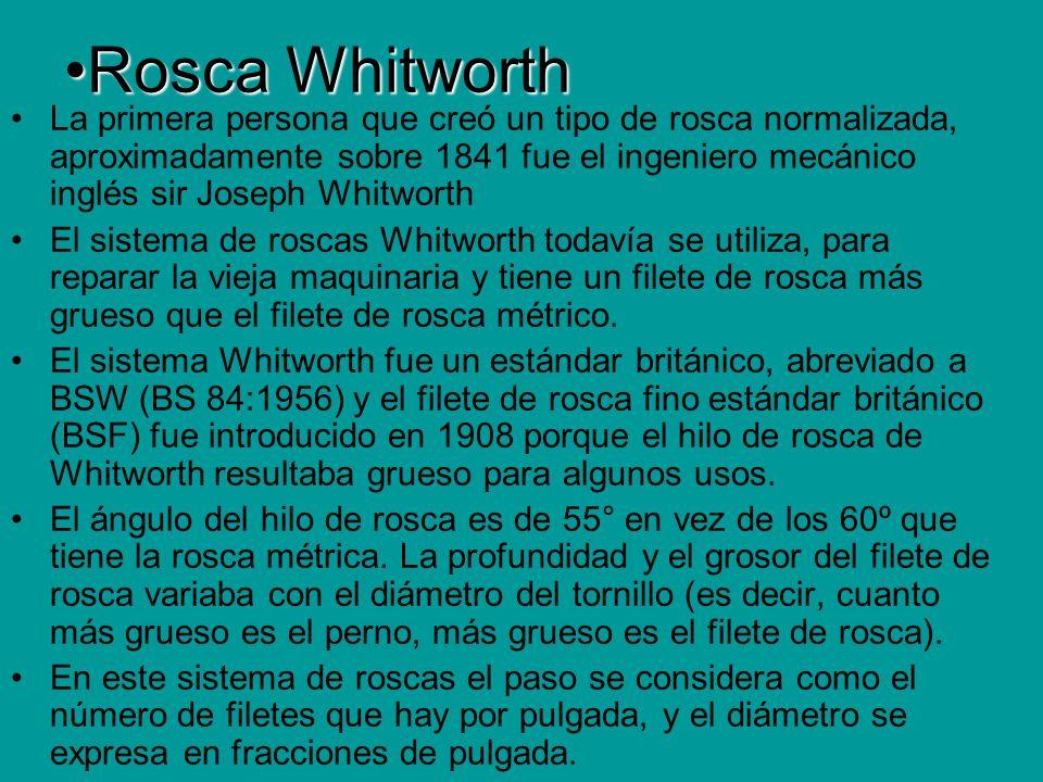 Rosca WhitworthRosca Whitworth La primera persona que creó un tipo de rosca normalizada, aproximadamente sobre 1841 fue el ingeniero mecánico inglés s