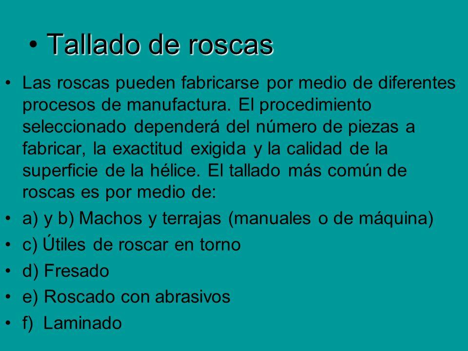 Tallado de roscas Las roscas pueden fabricarse por medio de diferentes procesos de manufactura. El procedimiento seleccionado dependerá del número de