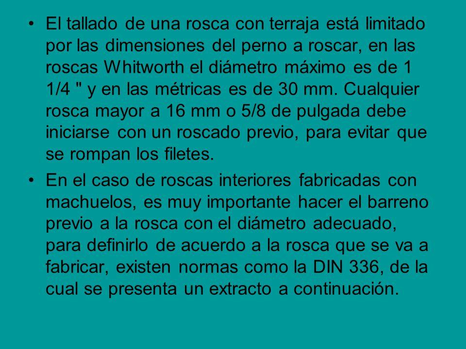 El tallado de una rosca con terraja está limitado por las dimensiones del perno a roscar, en las roscas Whitworth el diámetro máximo es de 1 1/4